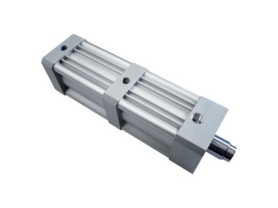 Special actuator with built-in booster to increase output stroke speed in die-cutting and cut-off applications