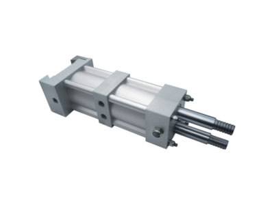 Special actuator for electric welding machines with twin rods and double-thust tandem rods + rear fixing system with adjustable clamp